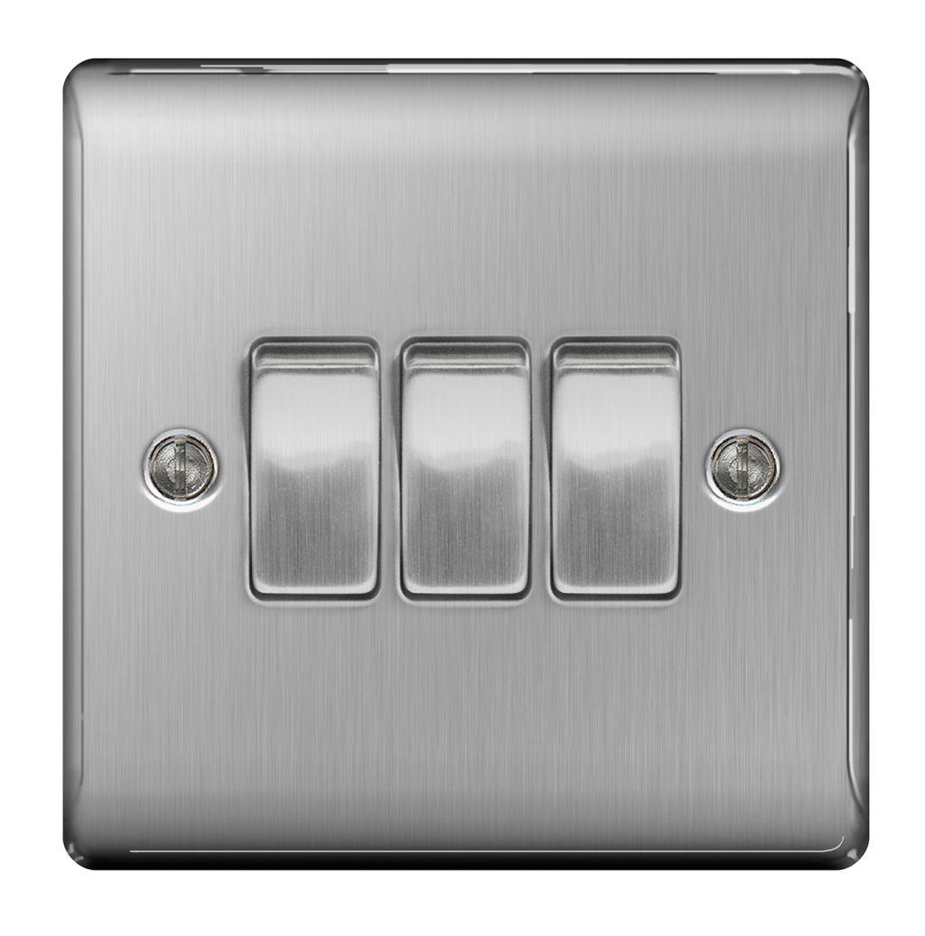 Bg Nexus Metal Nbs43 Brushed Steel 10ax 3 Gang 2 Way Switch