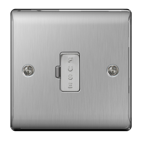 BG Nexus Metal NBS54 Brushed Steel 13A Unswitched Fused Connection Unit