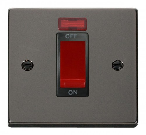 Scolmore Click Deco VPBN201BK 1 Gang 45A DP Switch With Neon