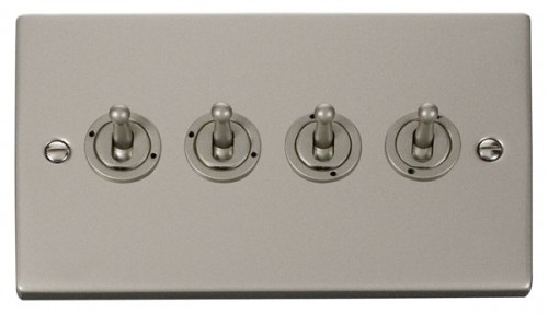 Scolmore Click Deco VPPN424 4 Gang 2 Way 10AX Toggle Switch