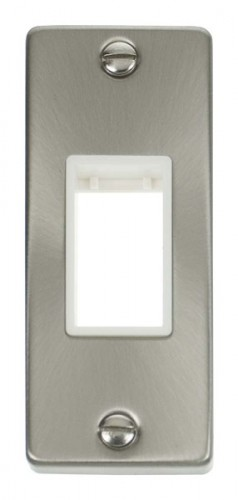 VPSC471WH Single Architrave Plate & Aperture Satin Chrome