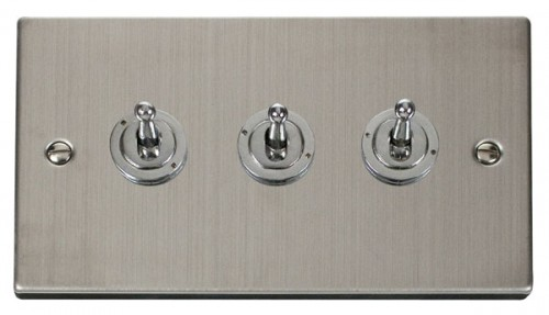 Scolmore Click Deco VPSS423 3 Gang 2 Way 10AX Toggle Switch